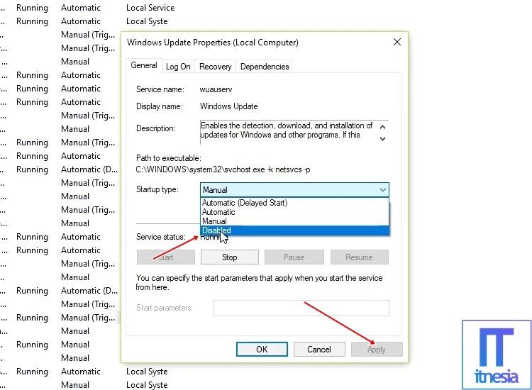 Cara Mematikan Update Windows 10 Melalui services.msc 3