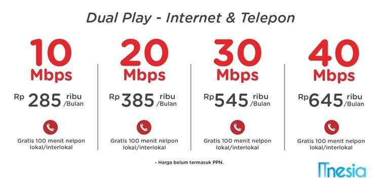 Harga Paket Indihome Dual Play Netizen I Perbulan