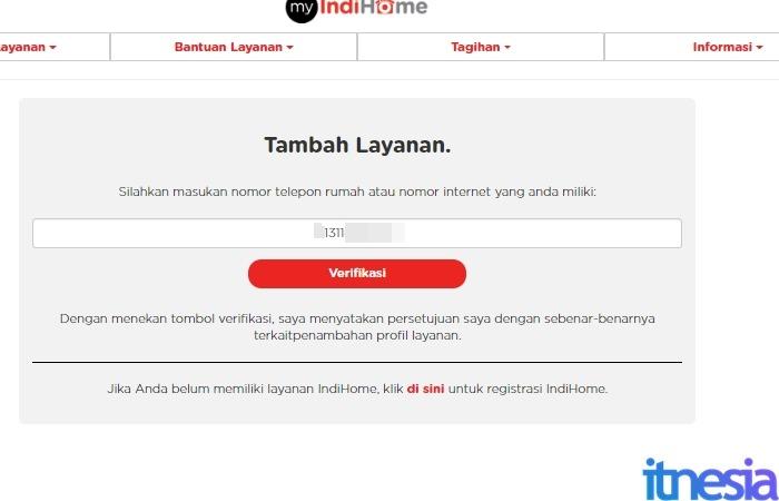Cara Cek Tagihan Indihome Online - Halaman Penambahan Nomor Layanan