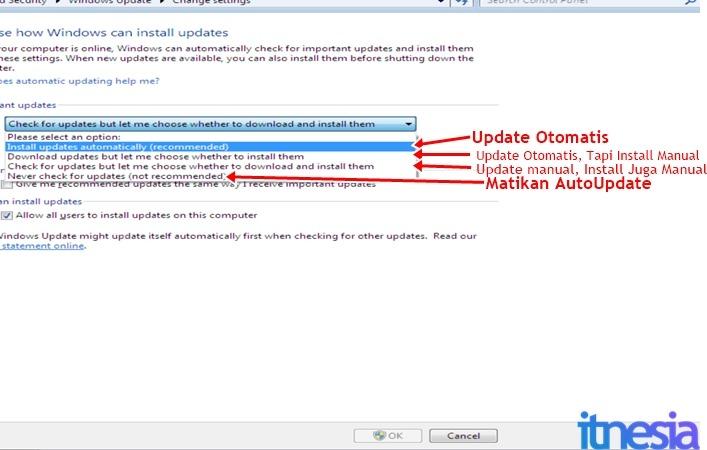 Cara Mematikan Auto Update Windows 7 - Pengaturan Autoupdate