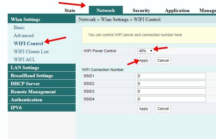 Cara Membatasi Jarak Jangkauan WiFi - Halaman Konfigurasi WiFi Power Control
