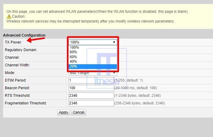 Cara Membatasi Jarak Jangkauan WiFi Modem Huawei - Pengaturan WiFi TX Power