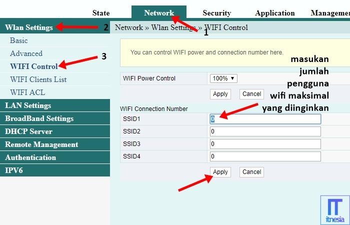 Cara Membatasi Pengguna WiFi Fiberhome - Masuk ke halaman Network Wlan Settings WiFi Control