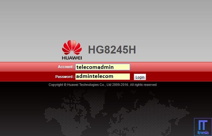 Cara Membatasi Pengguna WiFi Huawei HG8245H - Halaman login ke pengaturan modem WiFi