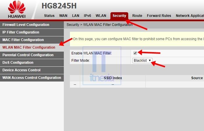 Cara Memblokir Pengguna WiFi (Huawei) - Halaman WLAN MAC Filter Configuration