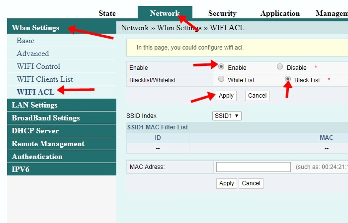 Cara Memblokir Pengguna WiFi Indihome (Fiberhome) - Halaman Konfigurasi Mac Address Filtering