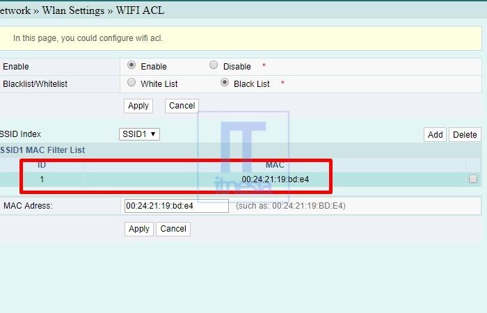 Cara Memblokir Pengguna WiFi Indihome (Fiberhome) - MAC Address Berhasil Dimasukan Kedalam Blacklist
