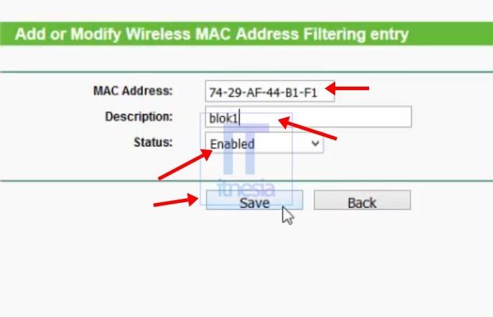 Cara Memblokir Pengguna WiFi (TP-Link) - Tampilan Halaman Penambahan MAC Address Filtering