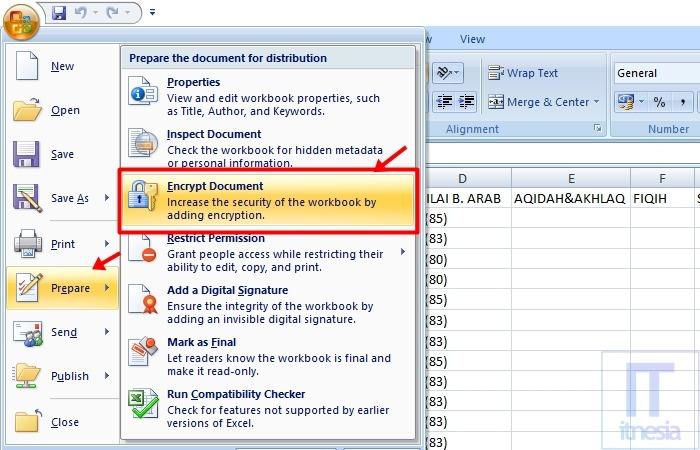 Cara Membuat Password Di Excel 2007 - Bagian Prepare Document