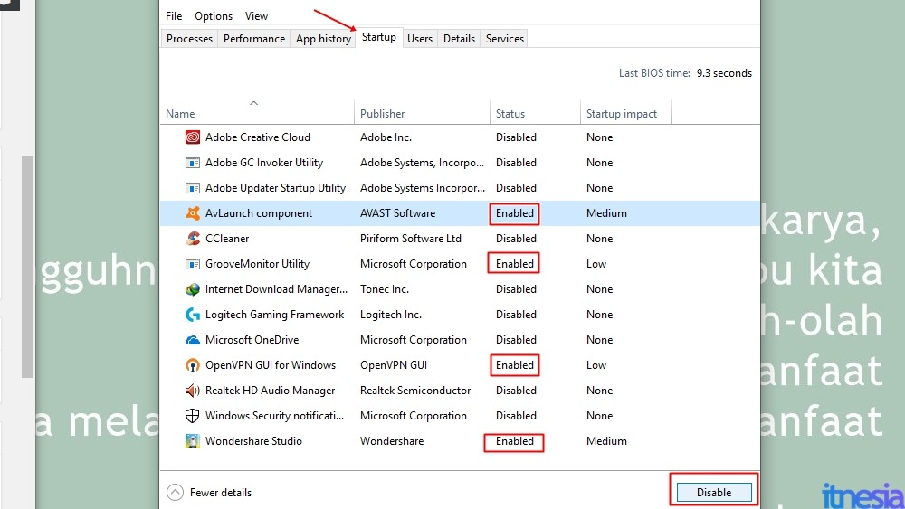 Cara Mempercepat Kinerja Windows 10 Dengan RAM 2GB - Cara mematikan startup