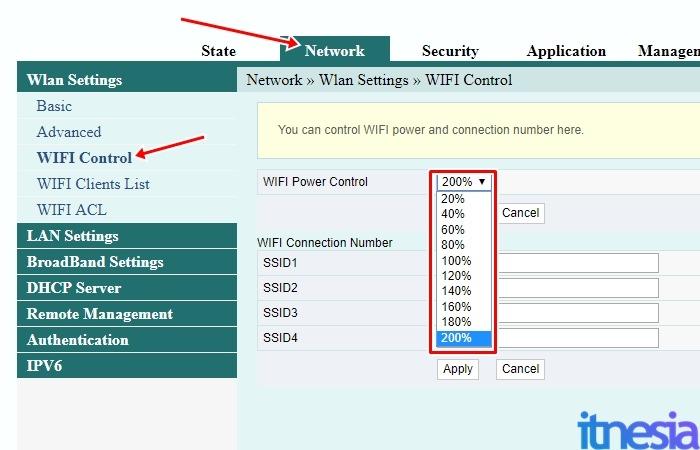 Cara Memperkuat Sinyal Wifi Indihome - Halaman Pengaturan WiFi Power Control