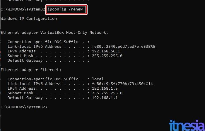 Cara Mengatasi DNS Server Isn't Responding - Hasil Perintah ipconfig renew