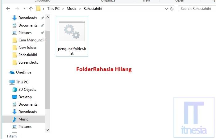 Cara Mengunci Folder Dengan Notepad - Folder Berhasil Dikunci