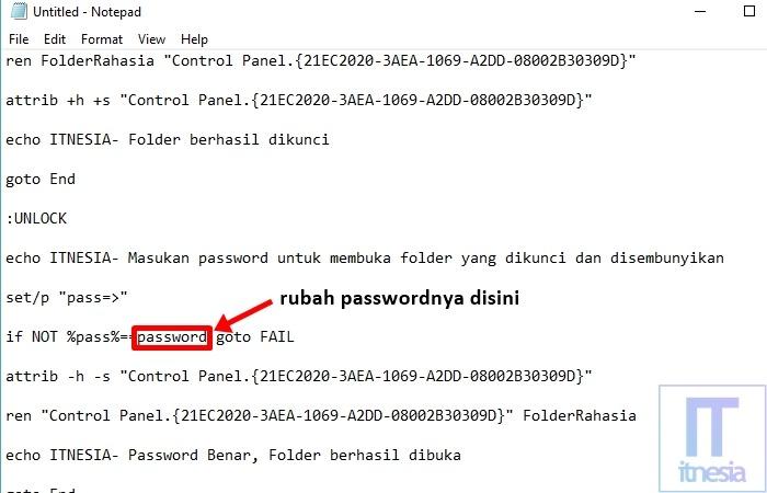 Cara Mengunci Folder Dengan Notepad - Posisi Password