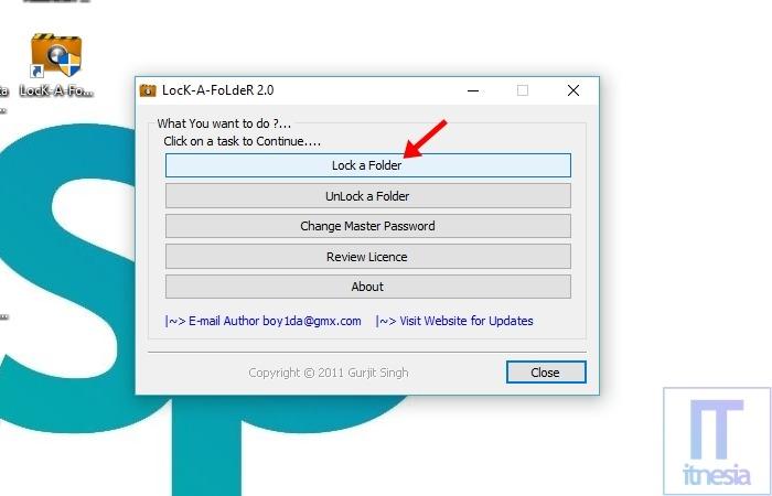 Cara Mengunci Folder Di Laptop Windows 10 Menggunakan Bantuan Software Lock A Folder - Jendela Utama Lock A Folder