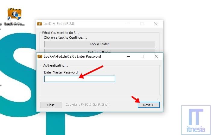 Cara Mengunci Folder Di Laptop Windows 10 Menggunakan Bantuan Software Lock A Folder - Masukan master password