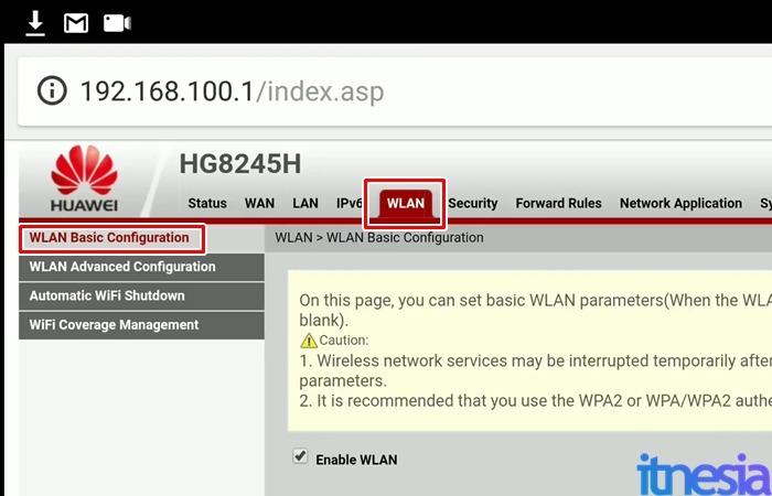 Cara mengganti password wifi lewat hp - Halaman Konfigurasi WLAN Modem WiFi Huawei