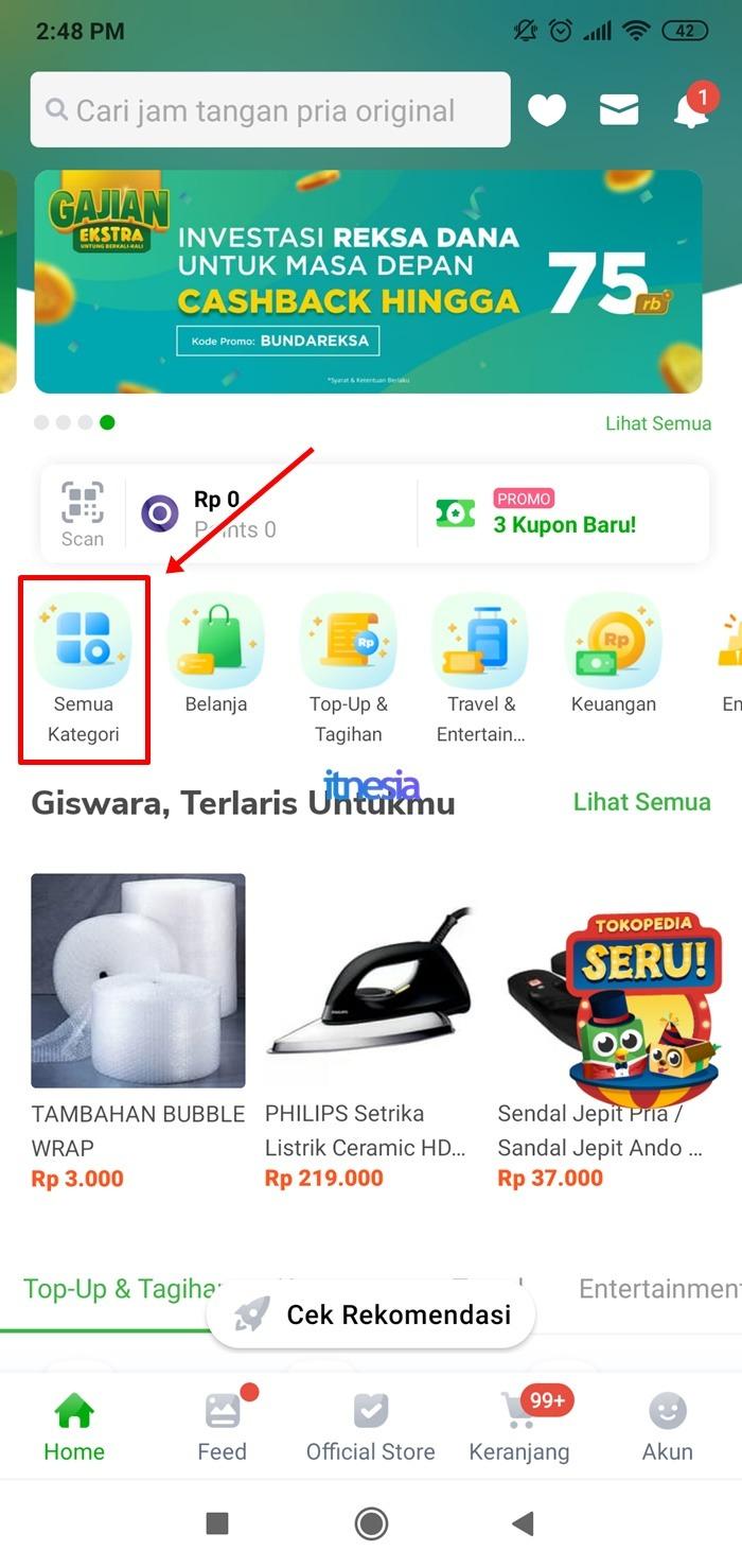 Halaman Depan Aplikasi Tokopedia