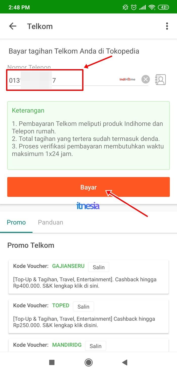Halaman Pembayaran Tagihan Telkom