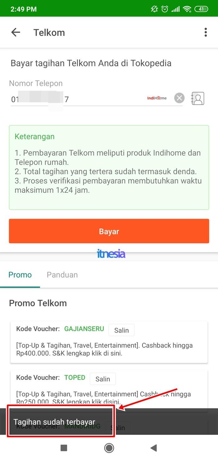 Cek Tagihan Indihome Lewat Tokopedia - Tagihan Telkom Sudah Dibayar Atau Belum Keluar