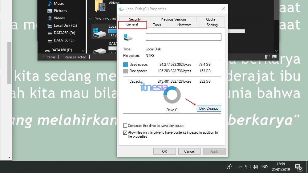 Hapus Cache Dan Berkas-Berkas Tidak Terpakai - Tombol Disk Cleanup