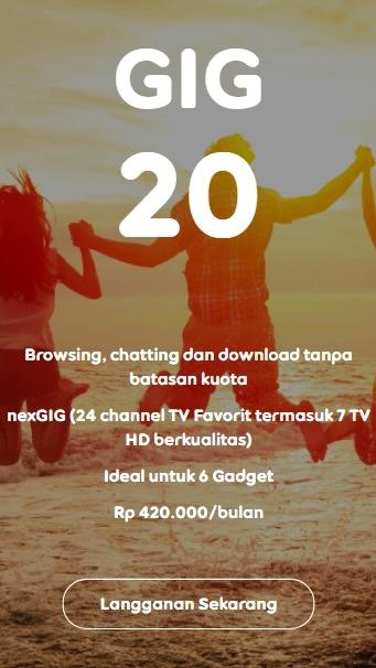 Harga Paket Internet Indosat GIG Perbulan - GIG 20
