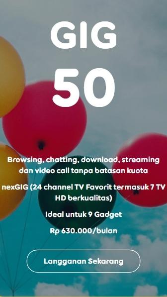 Harga Paket Internet Indosat GIG Perbulan - GIG 50