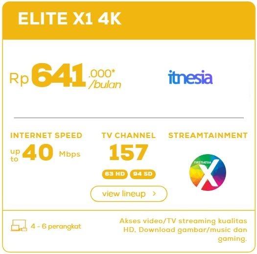 Harga Paket WiFi First Media Perbulan - Elite X1 4K