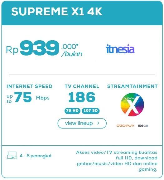 Harga Paket WiFi First Media Perbulan - Supreme X1 4K