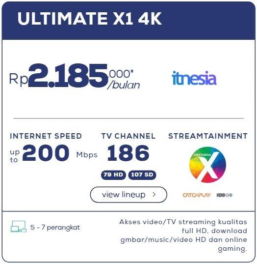 Harga Paket WiFi First Media Perbulan - Ultimate X1 4K
