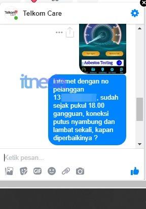 Laporan Melalui Pesan Facebook TelkomCare