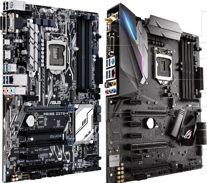 Motherboard Gaming VS Motherboard Biasa - Asus Z270-K Kanan merupakan motherboard non-gaming sedangkan Asus ROG Z270E Gaming merupakan motherboard gaming