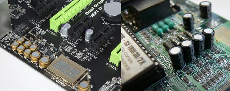 Motherboard Gaming VS Motherboard Biasa - Kanan Merupakan Foto Capasitor pada motherboard gaming sedangkan kiri merupakan foto capasitor pada motherboard biasa