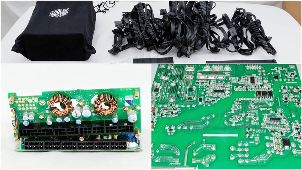Power Supply Komputer Tier 1 - Atas Packaging, Kiri Kapasitor Jepang, Kanan Layout dan Soldering PCB yang rapih