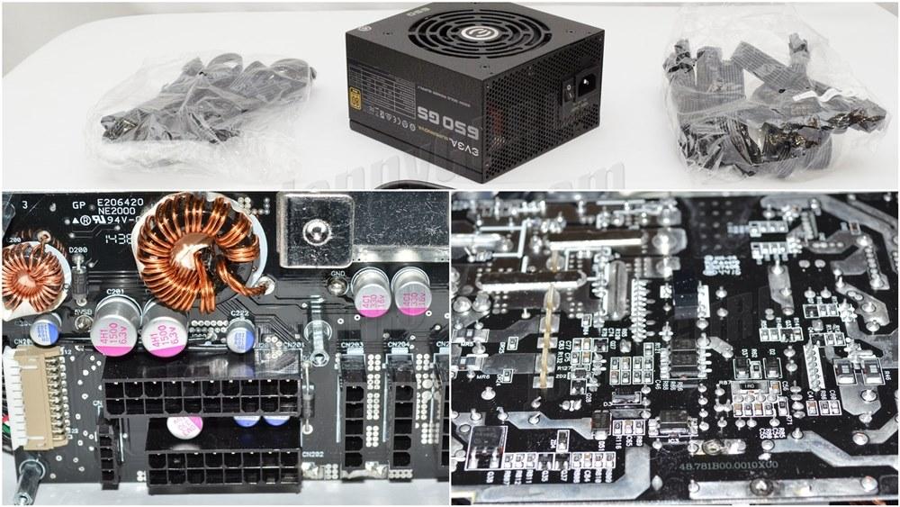 Power Supply Komputer Tier 2 - Atas Packaging Yang Standar, Kiri Kapasitor Jepang, Kanan Layout dan Soldering PCB yang rapih