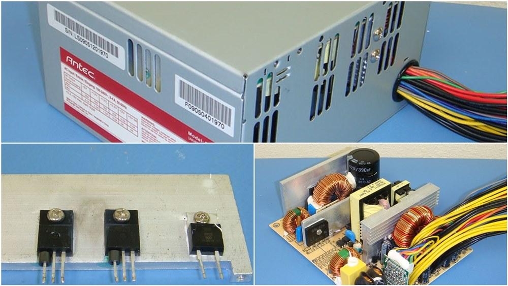 Power Supply Komputer Tier 5 - Atas Packaging Standar, Kiri Komponen Elektronik Taiwan, Kanan Layout PCB ciri khas PSU Murah