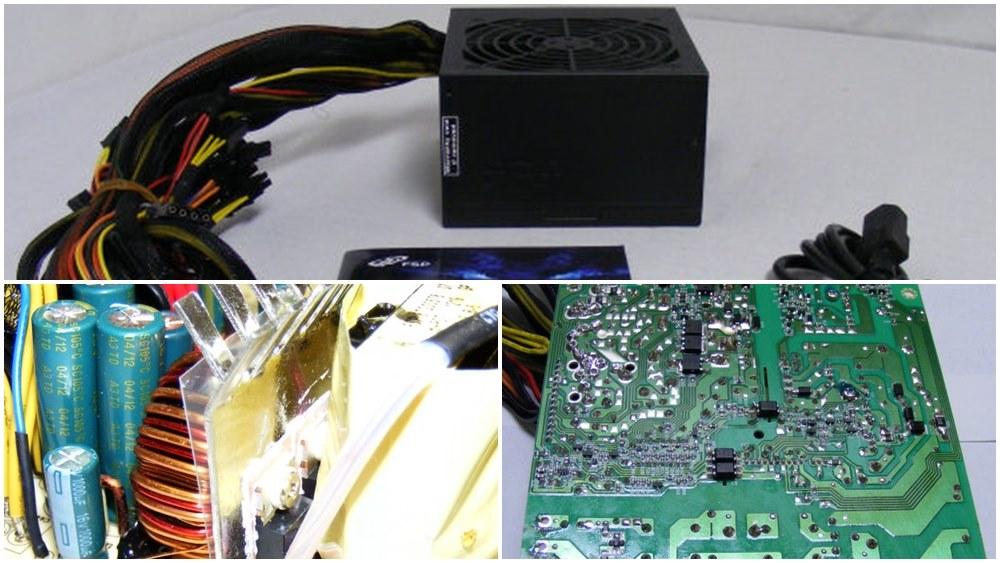 Power Supply Komputer Tier 6 - Atas Packaging Standar, Kiri Komponen Elektronik Taiwan, Kanan Layout & Soldering PCB ciri khas PSU Murah