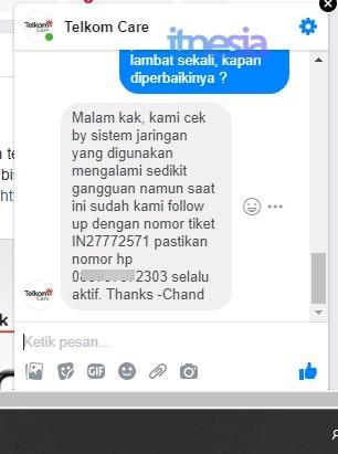 Tanggapan Customer Service TelkomCare Melalui Pesan Facebook