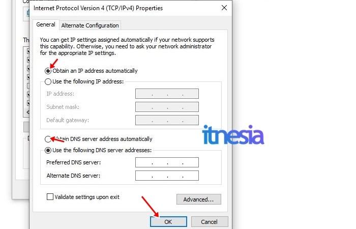 WiFi Terhubung Tapi Tidak Ada Koneksi Internet - Obtain IP dan DNS