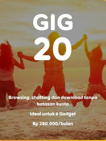 Harga Paket Internet WiFI Rumah Unlimited Indosat GIG Perbulan - GIG 20