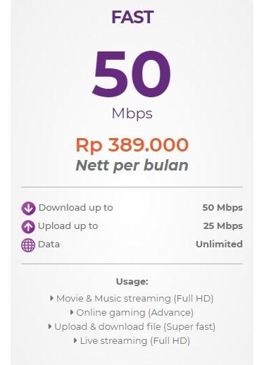 Harga paket myrepublic internet wifi Fast 50 Mbps