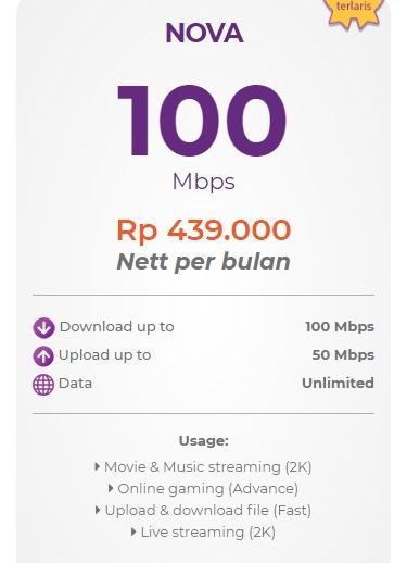 Harga paket myrepublic internet wifi Nova 100 Mbps
