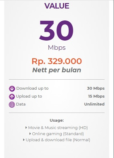 Harga paket myrepublic internet wifi Value 30 Mbps