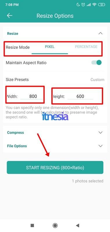 Pengaturan Saat Merubah Ukuran Foto Pada Smartphone Android