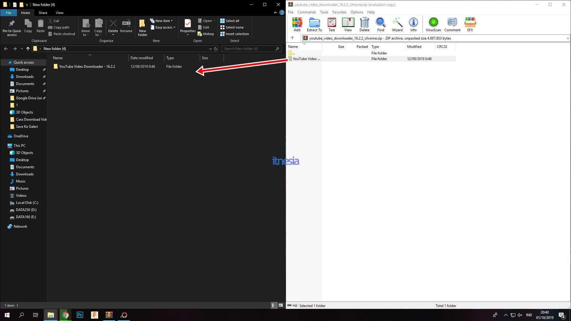 Proses Ekstrak File Dari Dalam ZIP