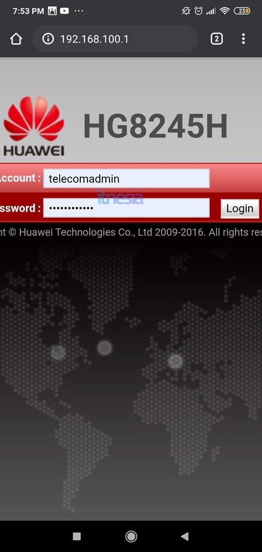 Cara Mematikan WiFi Pada Jam Tertentu [Jadwal On Off] - Halaman login konfigurasi modem HG8245H