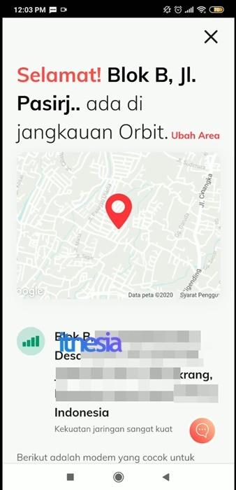 Halaman Jika Area Terdapat Dalam Jangkauan Telkomsel Orbit