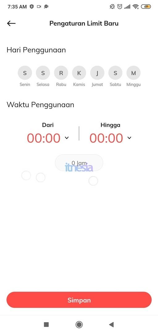 Halaman Pengaturan Jadwal WiFi