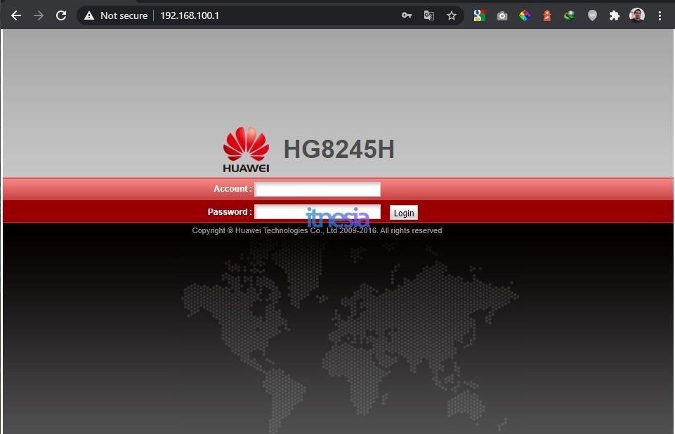 Halaman Login Huawei HG8245H