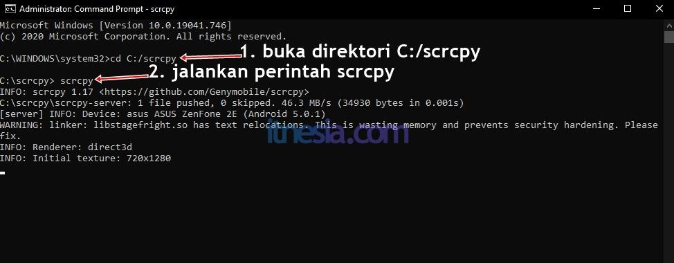Buka direktori scrcpy dan jalankan perintah scrcpy untuk menampilkan layar android di PC